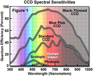 CCD Spectral sensitivities